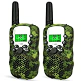 Walkie Talkies for Kids Voice Activated Walkie Talkies for Adults and Kids 3 Mile Range 2 Way Radio Walkie Talkies Built in Flash Light 2 Pack (Camo Green)