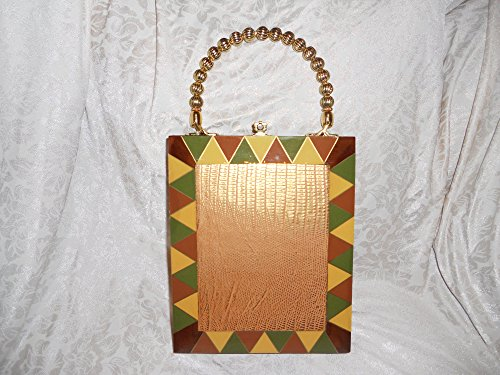 Cigar box Purse, Snakeskin Embossed Gold Metallic Leather, Tina Marie Purse, Vintage Cigar BoxShoulder Strap available as separate listing for $10 to be more versatile.