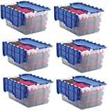 Akro-Mils 66486 CLDBL 12-Gallon Plastic Storage KeepBox with Attached Lid, 21-1/2-Inch by 15-Inch by 12-1/2-Inch, Semi Clear - Pack of 6