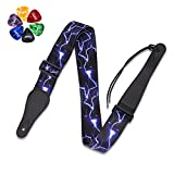 Deedose Guitar Strap Woven Collection Strap Set For Acoustic and Electric Guitar with 6 Free Guitar Picks (Lightening Blue)