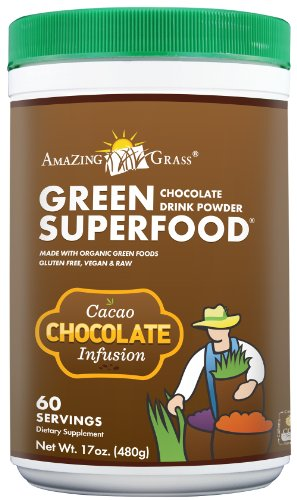 Incroyable poudre Boisson herbe Chocolat, Vert Superfood, 17-Ounce conteneurs