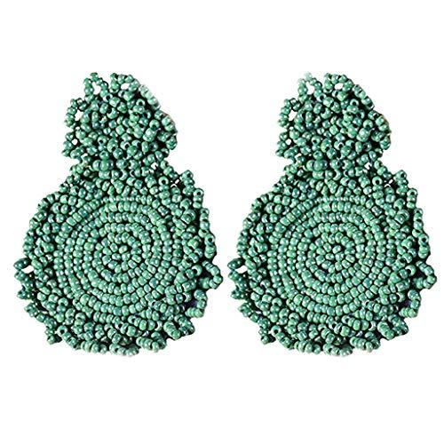 (Redvive Top Earrings Bohemian Beaded Round Dangle Earrings Gift for Women)