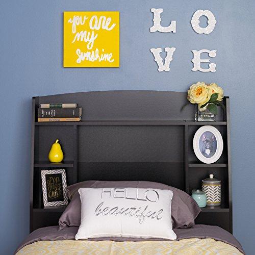 Prepac Astrid Twin Headboard, - Storage Prepac Black Bed