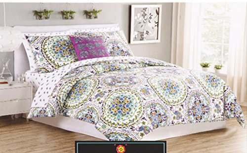 piece rowley moroccan amazon set com coral duvet cover size red paisley bedding lace cynthia quilt king cotton medallion dp bed