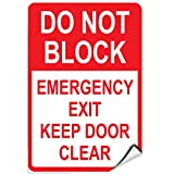 Dont Block Emergency Exit Keep Door Clear Parking Sign LABEL DECAL STICKER 12 inches x 18 inches