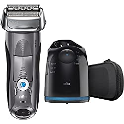 Braun Electric Shaver, Series 7 7865cc Men's Electric Razorelectric Foil Shaver, Wet & Dry, Travel Case With Clean & Charge System, Premium Grey Cordless Razor With Pop Up Trimmer