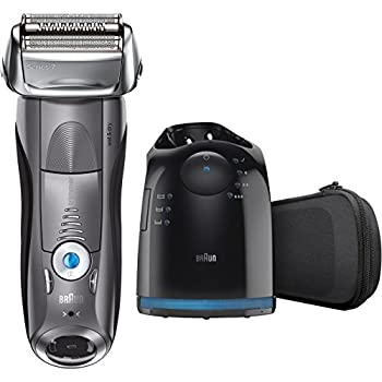 Braun Electric Shaver, Series 7 7865cc Men's Electric Razorelectric Foil Shaver, Wet & Dry, Travel Case With Clean & Charge System, Premium Grey Cordless Razor With Pop Up Trimmer 0