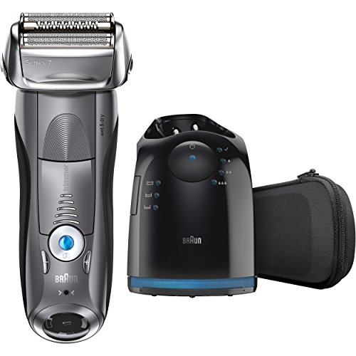 Braun Series 7 7865cc Wet & Dry Electric Shaver for Men with Clean & Charge System, Premium Grey Cordless Razor, Razors, Shavers, Pop up Trimmer, Travel Case