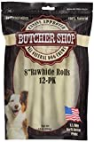 Butcher Shop 8' Rawhide Rolls 100% Natural Usa Hides (12 Pack), .618 Lb
