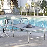 Steel Mesh Outdoor Chaise Lounge, Tubular Steel And Steel Mesh Construction In Dark Gray Finish - Weight Capacity 350 Pounds