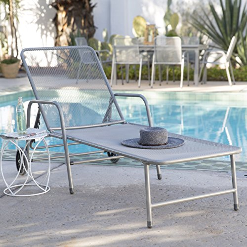 Steel Mesh Outdoor Chaise Lounge, Tubular Steel And Steel Mesh Construction In Dark Gray Finish - Weight Capacity 350 Pounds by Coral Coast
