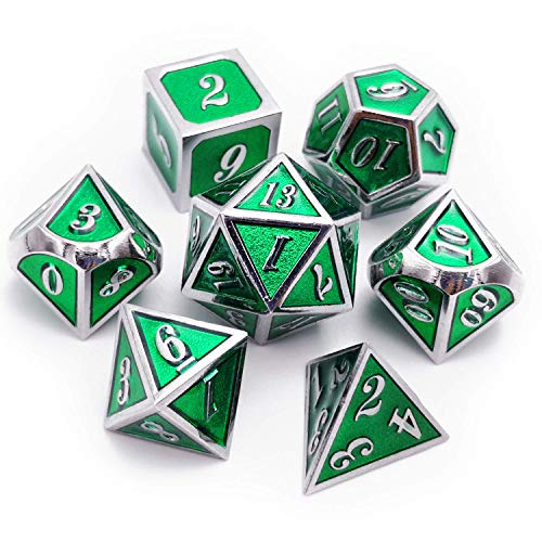Haxtec 7 Die Metal DND Dice Set Green D&D Metal Dice Set for Dungeons and Dragons RPG Table Games-Glossy Enamel Dice (Silver Emerald Green) ()