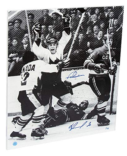 (AJ Sports World Paul Henderson vs Vladislav Tretiak Dual Signed 1972 Summit Series 24x20 Canvas)