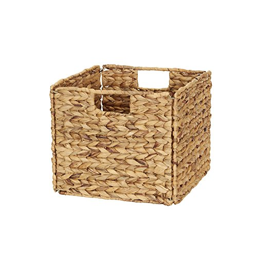 Household Essentials Wicker Open Storage Bin for Shelves, Natural (Wicker Cube)