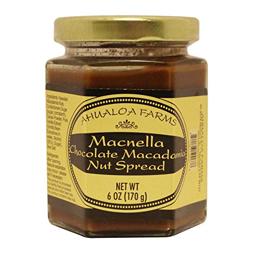 Macnella Chocolate Macadamia Nut Spread 6oz from Ahualoa Farms Hawaii Sauterne or Prosecco Wine pairings or Breakfast Topping for Fresh Fruit, Toast Cereal (Mcnella Choco Macadamia Nut Spread 6 oz.)