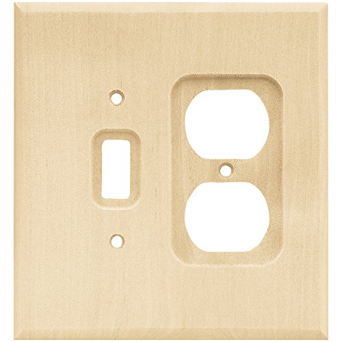 Franklin Brass W10396-UN-C Square Single Toggle Switch & Duplex Wall Plate/Switch Plate/Cover, Unfinished Wood