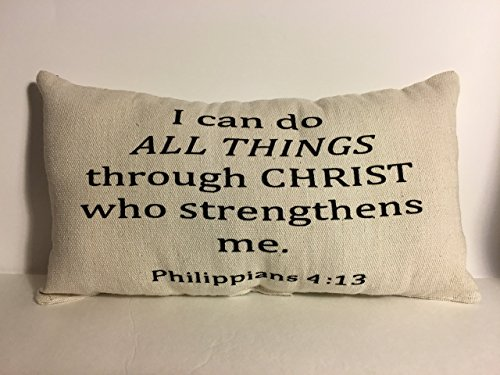 I Can Do All Things Philippians 4:13, Scripture, Christian, Lumbar Pillow, Black and Canvas Beige, Inspiration, Hope, Plans, Home Decor