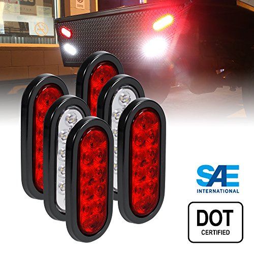 "4 Red + 2 White 6"" Oval LED Trailer Tail Light Kit [DOT Certified] [Grommets & Plugs Included] [IP67 Waterproof] Stop Brake Turn Reverse Back Up Trailer Lights for RV Truck Jeep"
