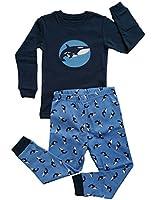 Leveret Boys Orca Killer Whale 2 Piece Pajama 100% Cotton (Size 12M-8 Years)