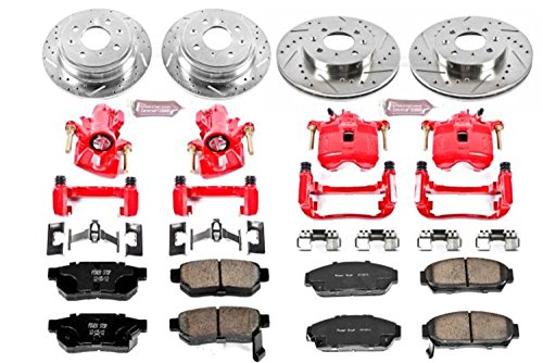 Power Stop KC693 1-Click Performance Brake Kit with Caliper, Front & Rear ()