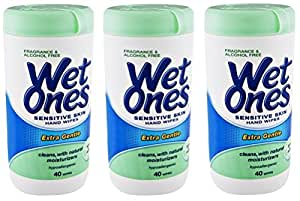 Wet Ones Sensitive Skin Hand Wipes: 40 Count Canister (Pack of 3)