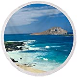 Pixels Round Beach Towel With Tassels featuring ''Waimanalo Bay, Oahu, Hawaii'' by Pixels
