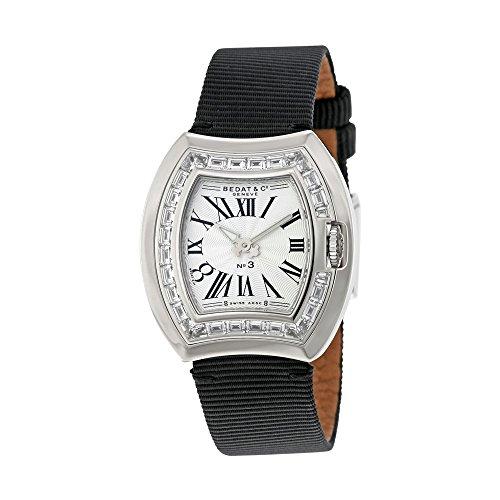 Bedat No. 3 White Dial Black Fabric Diamond Ladies Watch 324.550.100