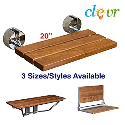 Clevr Modern 100% Burmese Teak Wood Folding Shower Bench Seats (Multiple Sizes) Foldable
