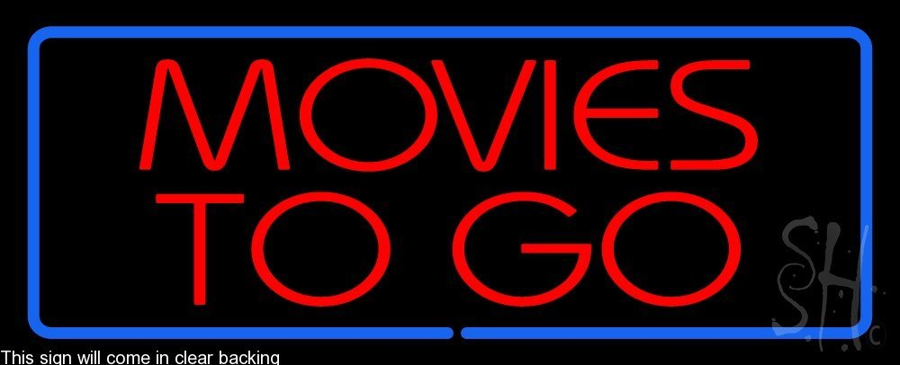 Movies to Go Clear Backing Neon Sign 13'' Tall x 32'' Wide
