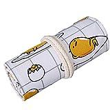 48 Holes Cute Eggs Wrap Roll up Pencil Case Pen Bag Holder Storage Pouch
