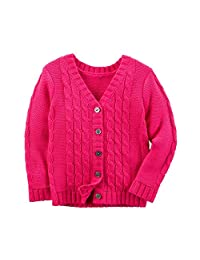 Carter's Girl Button-Front Cable Knit Neon Pink V-Neck Cardigan Sweater (6M)