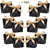 Gift Bags with Handles - WantGor 8.66x6.3x2.76'' Paper Party Favor Bag with Bow Ribbon for Birthday Wedding Celebration Present (Black, Small- 12 Pack)