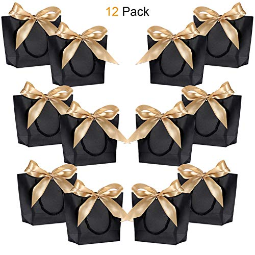 Gift Bags with Handles- WantGor 8.6x6.3x2.7inch Paper Party Favor Bag Bulk with Bow Ribbon for Birthday Wedding/Bridesmaid Celebration Present Classrooms (Matte Black, Small- 12 Pack) ()