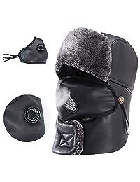 G-LIKE Men Winter Hat Windproof Mouthguard Scarf Earmuffs Ushanka Hunting Hat(Black)