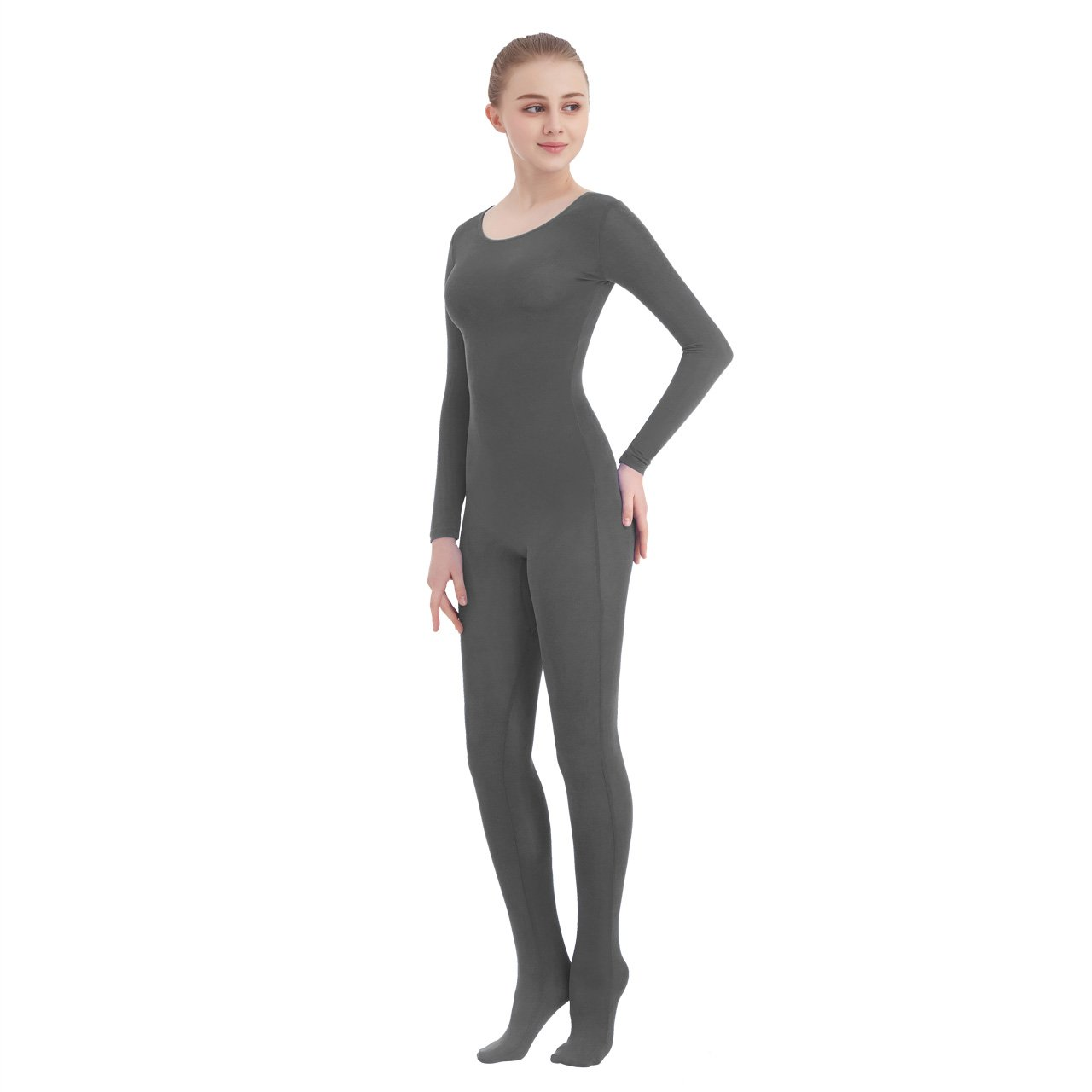 e35354158 Galleon - Unisex Scoop Neck Footed Lycra Spandex Long Sleeve Unitard (X- Large