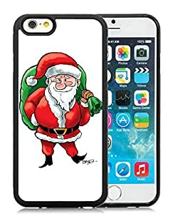 Custom Case Cover For Apple Iphone 6 Plus 5.5 Inch anta Claus Black Hard Case 30