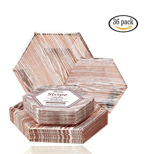 Party Disposable 36 pc Dinnerware Set | 18 Dinner Plates and 18 Side Plates | Heavyweight Paper Plates | Hexagon Wood Design | for Upscale Wedding and Dining (Wood Collection – White/Rose)