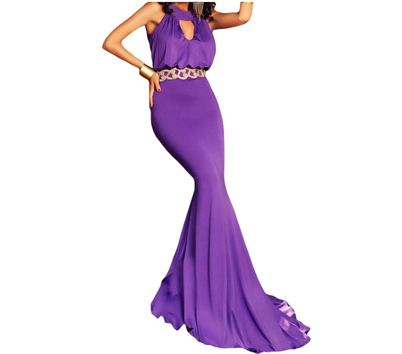 Bling-Bling Womens Purple Elegant Keyhole Cut Out Long Prom Dress