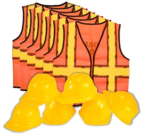 kedudes Kids Dress Up Construction Set - 6 Construction Worker Vest with 6 Construction Worker Soft Plastic Construction Helmets Hat]()