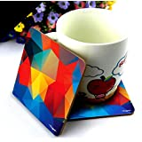 CrazyInk Premium Wooden Abstract Colorful Polygon HD Printed Standard Size Coasters 4x4-inch(Multicolour) - Set of 6