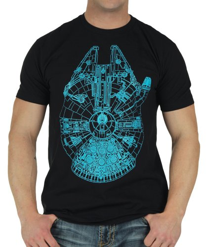 Star Wars Blue Glow in the Dark Falcon Mens Soft Black Hand Tee (Star Wars Shirts)