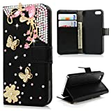 iPhone SE Case,iPhone 5S Case,iPhone 5 Case - Maviss Diary 3D Handmade Bling Luxury Wallet Pink Crystal Butterfly Diamonds Flowers Black PU Leather Card Holders Flip Cover with Golden Dust Plug