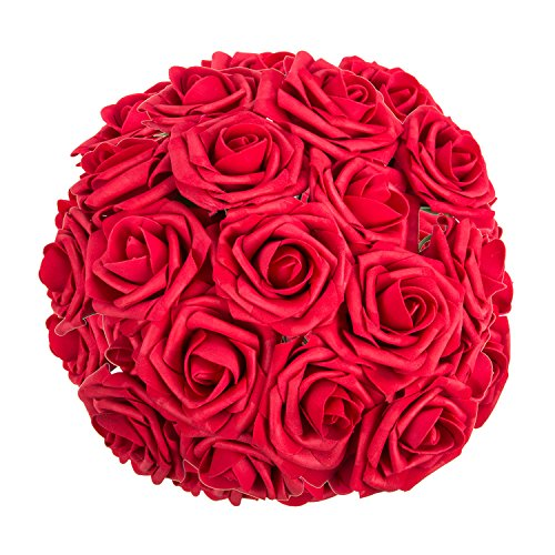 ZOOYOO Artificial Flowers Dark Red Roses 50pcs,Wedding Bridesmaid Bridal Bouquets Centerpieces,Wedding Decorations,Real Looking Fake Roses Stem For Party Decoration,Baby Shower Home Decorations ()