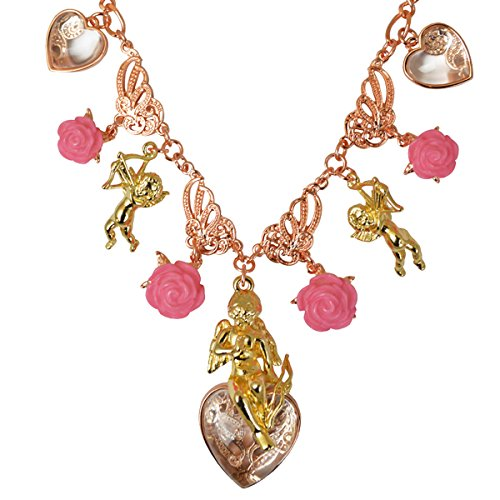 Cupid Ornament - Ritzy Couture Dangling Ornament Multi Charms Cupids and Romance Pink Enamel (Rose Gold/Goldtone) Drop Dangle Necklace Jewelry for Women's Girls Valentines Day Costume