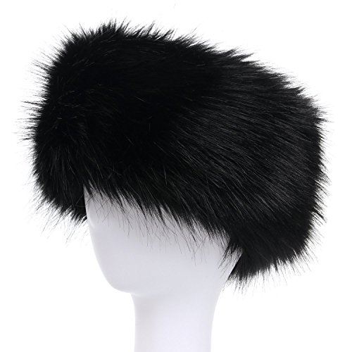 - La Carrie Faux Fur Headband with Stretch Women's Winter Earwarmer Earmuff (black)
