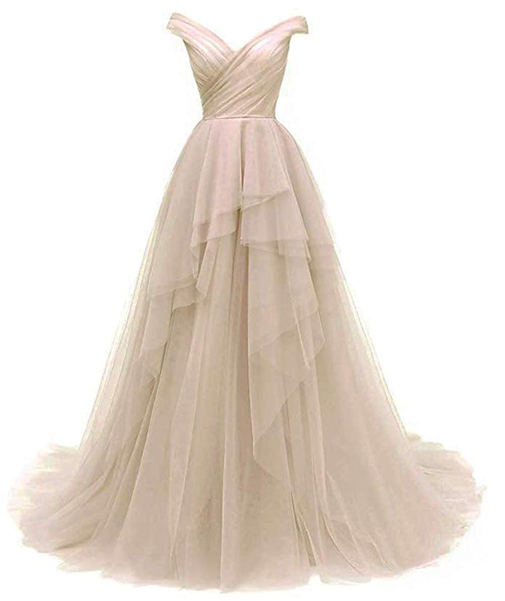 Champagne AnnaBride Women's Long V Neck Prom Ball Quinceanera Gowns with Train Formal Party Dress 14PM