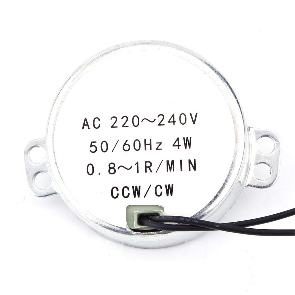 0.8-1RPM Synchronous Motor,1pc 220-240V AC Permanent Magnet Synchronous Motor Geared Motor 4W CW//CCW Industrial Control Motor Large Torque for Industrial Automation Control Equipment