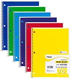 Mead Spiral Notebooks, 1 Subject, Wide Ruled Paper, 70 Sheets, 10-1/2'' x 7-1/2'', Assorted Colors, 6 Pack (73063)