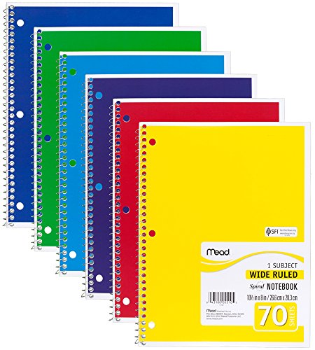 Mead Spiral Notebooks, 1 Subject, Wide Ruled Paper, 70 Sheets, 10-1/2