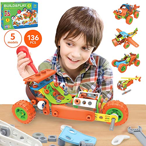 136 PCS STEM Learning Toys – Educational Engineering and DIY STEM Construction Kit – Best Building Set for 6 7 8 9 10…